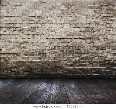 old room with brick wall
