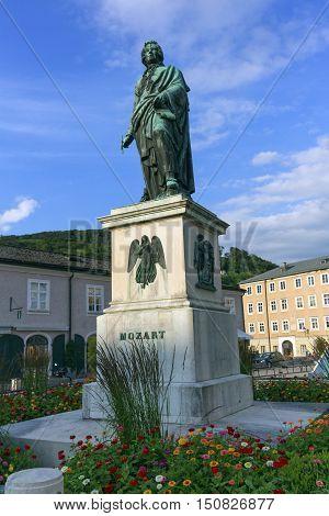 Mozart statue on Mozart Square, Mozartplatz, in Salzburg by day, Austria