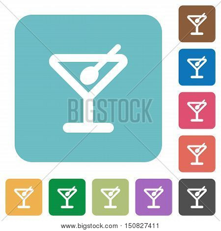 Flat cocktail icons on rounded square color backgrounds.