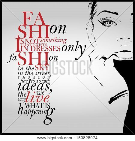 Fashion quote with modern girl in a dress. Vector art.