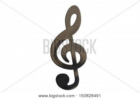 Treble clef, stainless steel isolated on white background.