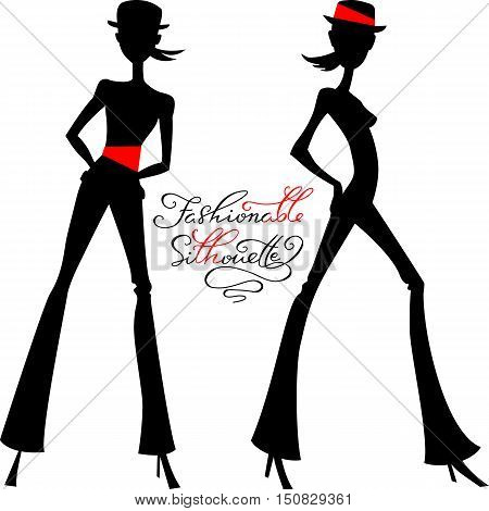 Black silhouette of fashion girls top models in hats and pants with calligraphic inscription