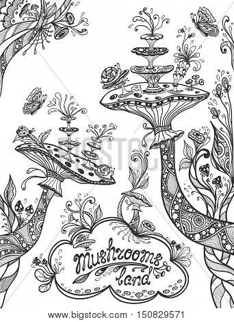 Fantasy illustration mushrooms land in Zen doodle or Zen tangle style black on white for coloring page or coloring books or template background for book cover or wallpaper