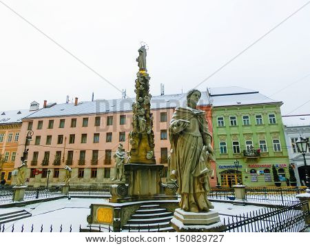 Kosice, Slovakia - January 05, 2016: Plague olumn of Kosice, the biggest city in eastern Slovakia. It was the European Capital of Culture in 2013
