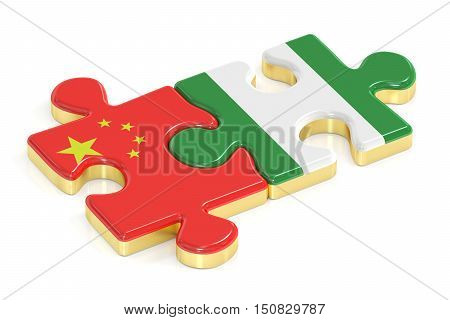 China and Nigeria puzzles from flags 3D rendering