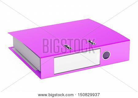 purple ring binder 3D rendering isolated on white background