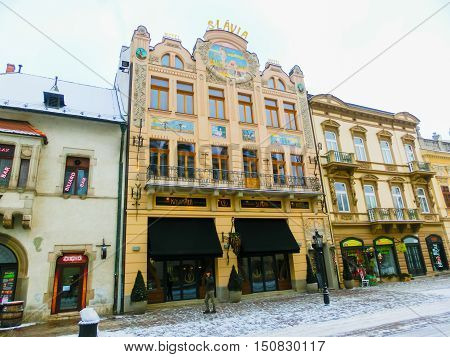 Kosice, Slovakia - January 05, 2016: Architecture in the evening of Kosice, the biggest city in eastern Slovakia. It was the European Capital of Culture in 2013