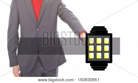 Young business man with illustration of smart watch on white background