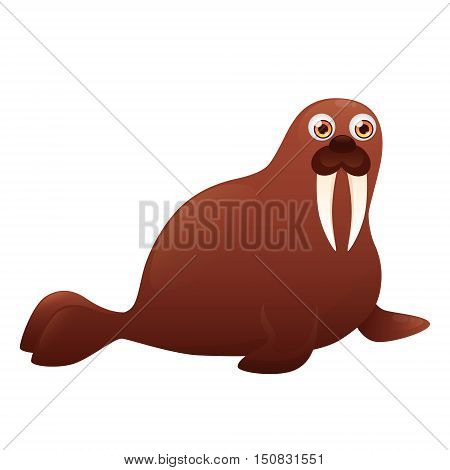 Walrus isolated on white background. Vector illustration