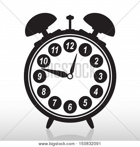Silhouette of retro alarm clock. Suitable for use as a logo