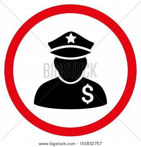 Financial Policeman vector bicolor rounded icon. Image style is a flat icon symbol inside a circle, intensive red and black colors, white background.
