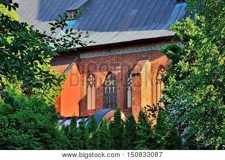 Wall of Koenigsberg Cathedral on a summer evening. Kaliningrad Russia