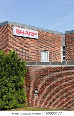 Aarhus, Denmark - September 25, 2016: Sharp building and office. Sharp is a Japanese multinational corporation that designs and manufactures electronic products