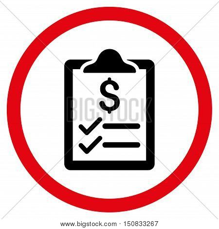 Invoice Pad vector bicolor rounded icon. Image style is a flat icon symbol inside a circle, intensive red and black colors, white background.