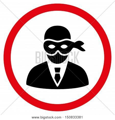 Masked Thief vector bicolor rounded icon. Image style is a flat icon symbol inside a circle, intensive red and black colors, white background.