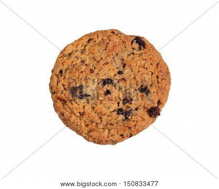Fresh whole oatmeal raisin cookie isolated on white