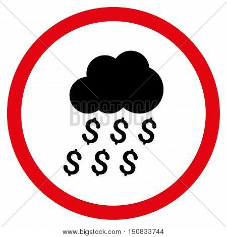 Money Rain vector bicolor rounded icon. Image style is a flat icon symbol inside a circle, intensive red and black colors, white background.