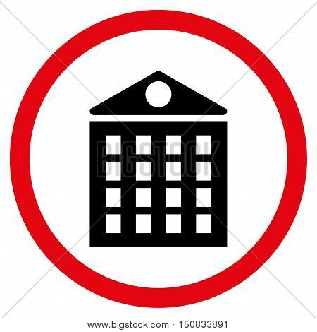 Multi-Storey House vector bicolor rounded icon. Image style is a flat icon symbol inside a circle, intensive red and black colors, white background.