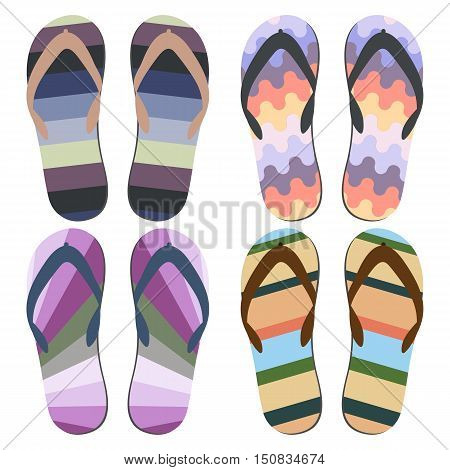 Set of Beach Slippers. Colorful Beach Sandals Over White Background