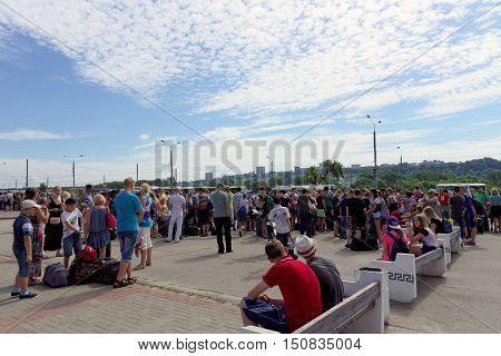 Nizhny Novgorod, Russia. - June 24.2016. Gathering children to send to the rest camp on Lenin Square