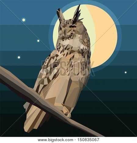 Owl of the triangles, sitting on the branch, night predatory bird, vector design