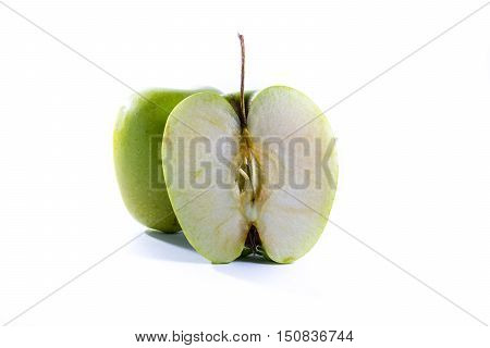 Green Granny Smith Apple Cross Section Slice Halves Fresh Fruit Closeup White Isolated Background