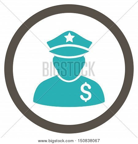 Financial Policeman vector bicolor rounded icon. Image style is a flat icon symbol inside a circle, grey and cyan colors, white background.