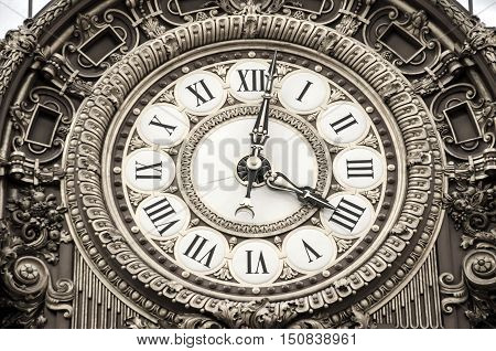 Ornate Round Roman Analog Clock Close Up