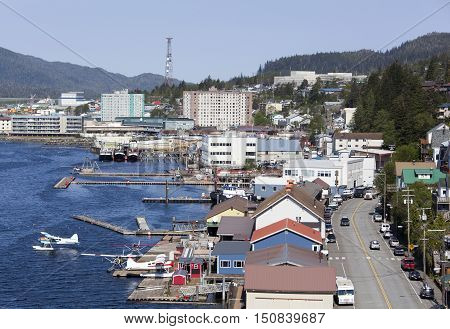 The view of busy Ketchikan town on a sunny day (Alaska).