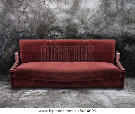 old sofa in a dirty room