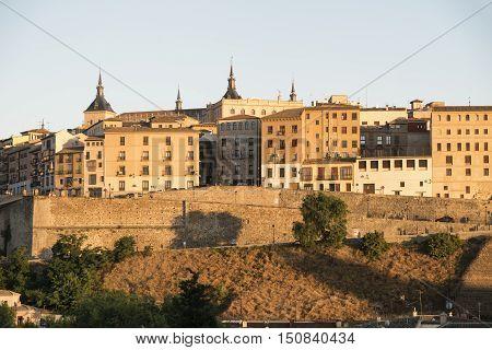 Toledo (Castilla-La Mancha Spain): cityscape the medieval walls at evening