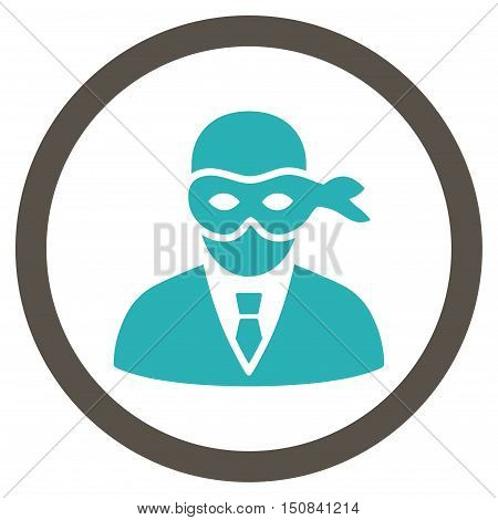 Masked Thief vector bicolor rounded icon. Image style is a flat icon symbol inside a circle, grey and cyan colors, white background.