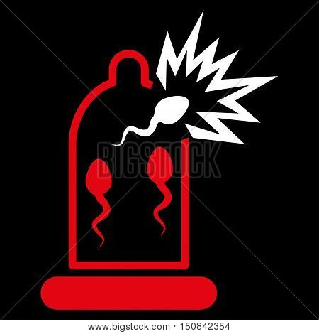 Damaged Condom With Sperm vector icon. Style is bicolor flat symbol red and white colors rounded angles black background.