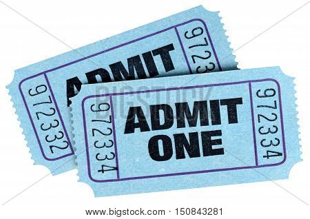 Two Blue Admit One Tickets Isolated On White Background.