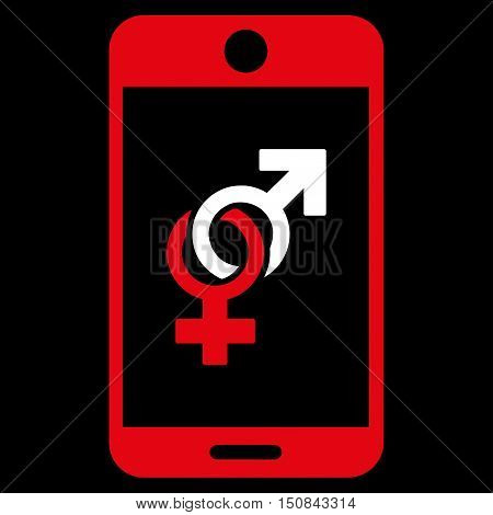 Mobile Dating vector icon. Style is bicolor flat symbol red and white colors rounded angles black background.