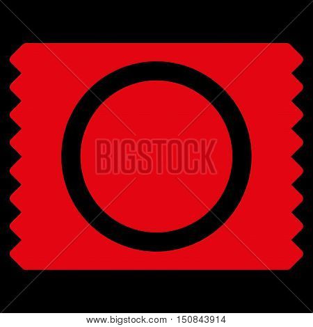 Condom Pack vector icon. Style is flat symbol red color rounded angles black background.