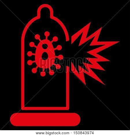 Damaged Condom With Virus vector icon. Style is flat symbol red color rounded angles black background.