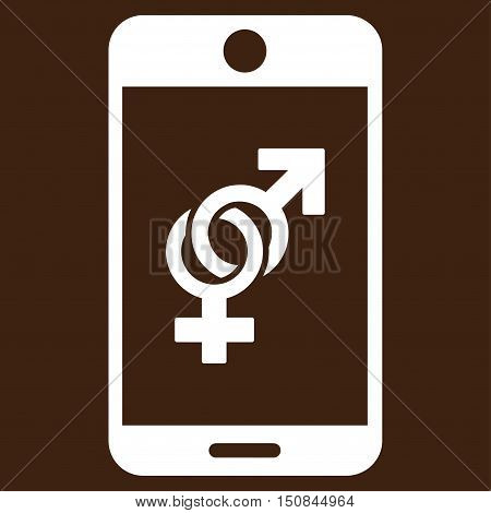 Mobile Dating vector icon. Style is flat symbol white color rounded angles brown background.