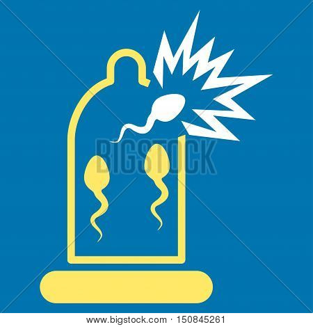 Damaged Condom With Sperm vector icon. Style is bicolor flat symbol yellow and white colors rounded angles blue background.