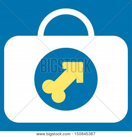 Male Erection Case vector icon. Style is bicolor flat symbol yellow and white colors rounded angles blue background.