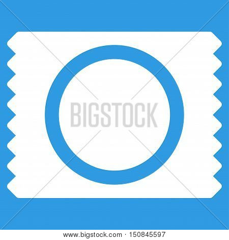 Condom Pack vector icon. Style is flat symbol white color rounded angles blue background.
