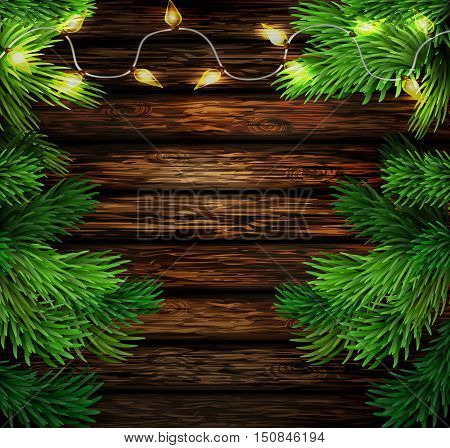 Christmas New Year design wooden background with christmas lights garland. Vector illustration