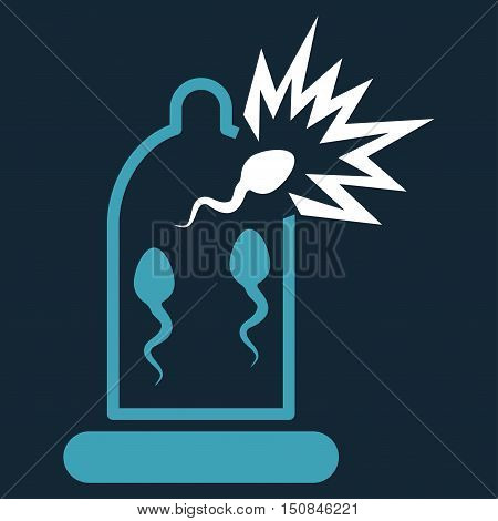 Damaged Condom With Sperm vector icon. Style is bicolor flat symbol blue and white colors rounded angles dark blue background.