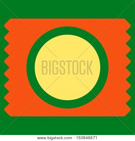 Condom Pack vector icon. Style is bicolor flat symbol orange and yellow colors rounded angles green background.
