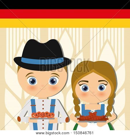 German person in traditional dress vector illustration design