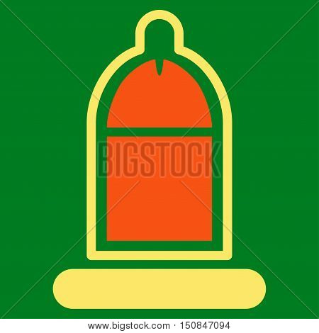 Protected Penis With Condom vector icon. Style is bicolor flat symbol orange and yellow colors rounded angles green background.