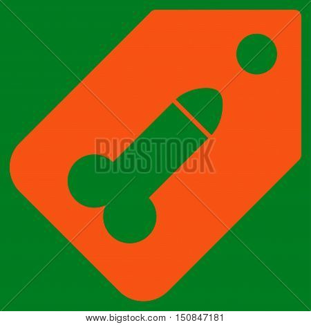 Dildo Tag vector icon. Style is flat symbol orange color rounded angles green background.