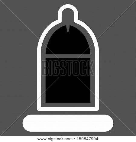 Protected Penis With Condom vector icon. Style is bicolor flat symbol black and white colors rounded angles gray background.