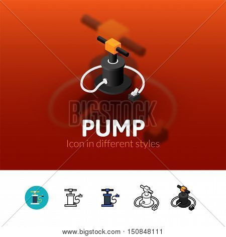 Pump color icon, vector symbol in flat, outline and isometric style isolated on blur background