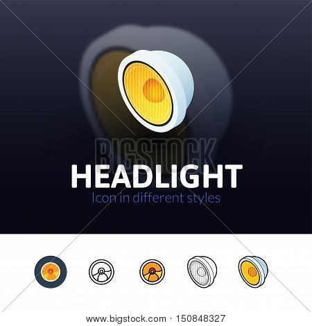 Headlight color icon, vector symbol in flat, outline and isometric style isolated on blur background